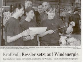 Zeitungsartikel Windenergieprojekt