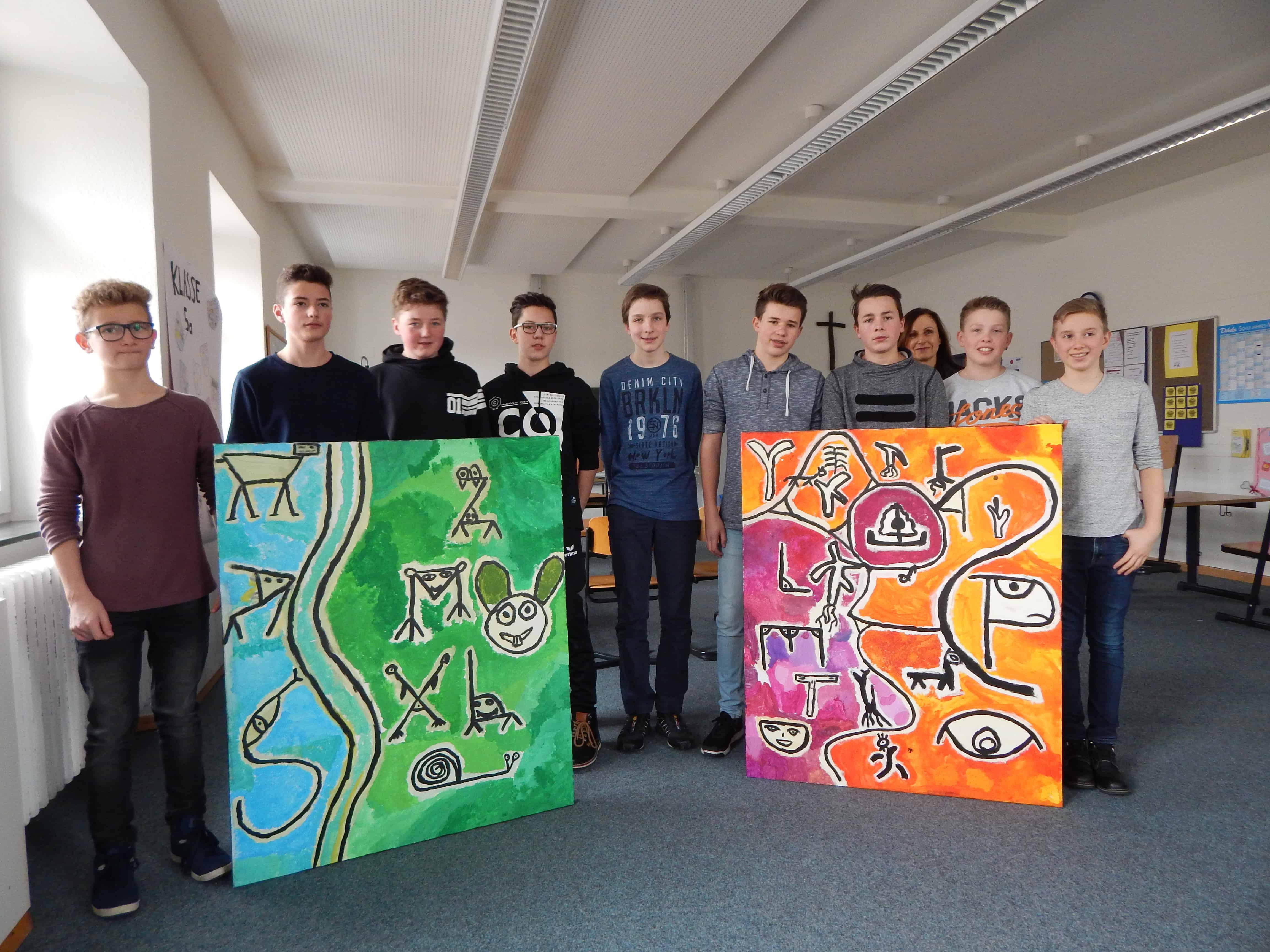 Schrift und Zeichen in den Bildern von Paul Klee – Bilder in Acryl von Schülern der Klasse 8b